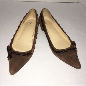 J. Crew Brown Suede Heels Point Toe Bow Pumps